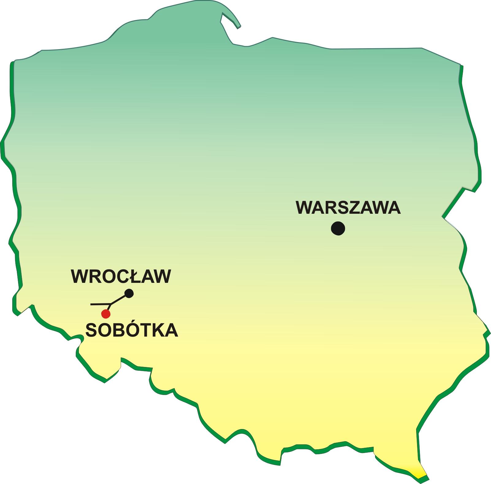 Mapa Polski z lokalizacją Sobóki