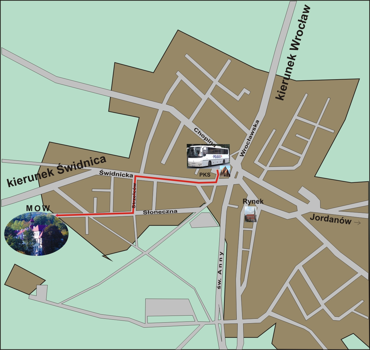 Plan miasta Sobótka z lokalizacją MOW